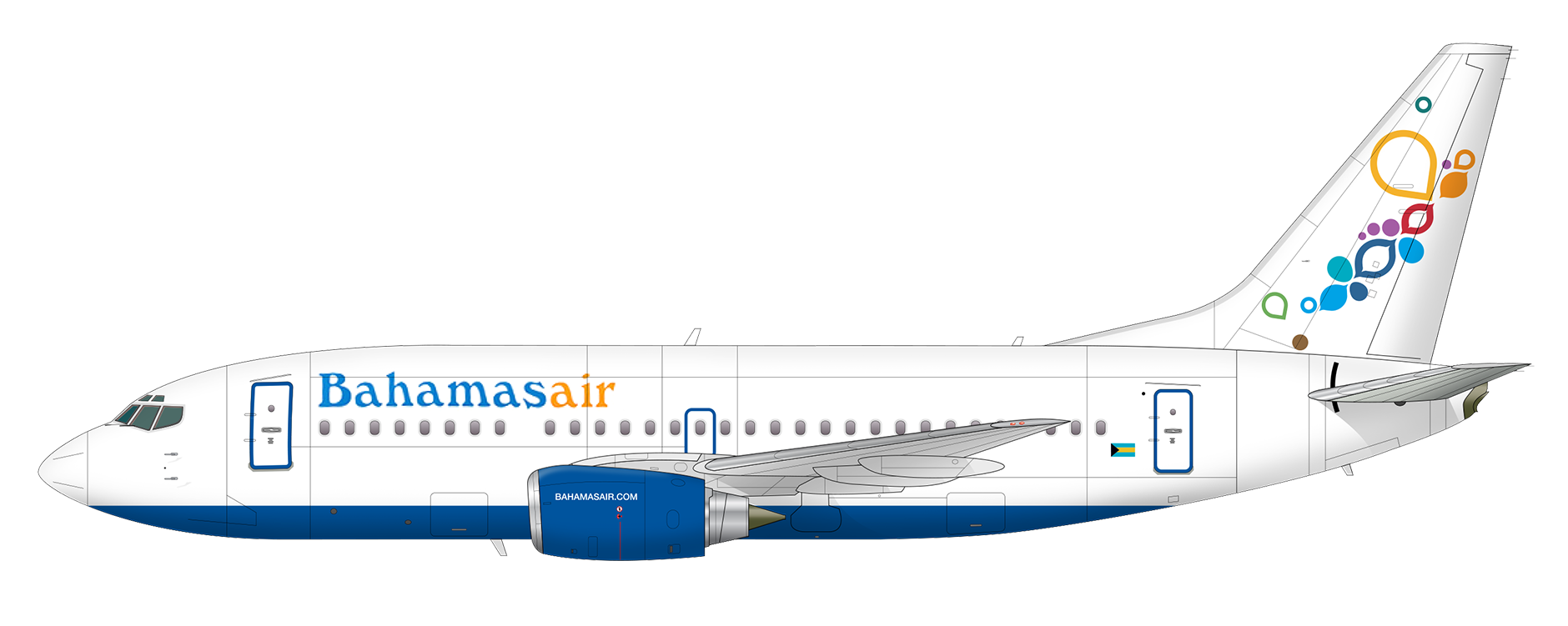 Image result for bahamasair Boeing 737-500 png