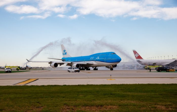 Farewell to KLM Boeing 747 on its Chicago route